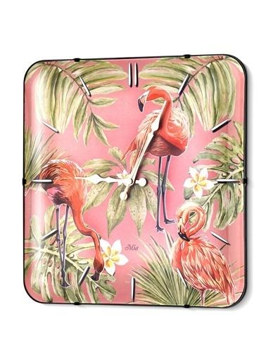 The Mia Duvar Saati - Tropik Flamingo 35 Cm  Renkli